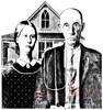Deep Red Stamps American Gothic Rubber Cling Stamp