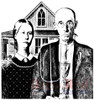 Deep Red Stamps American Gothic Rubber Cling Stamp High Resolution