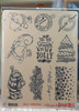 Jolly Christmas 10 cling stamp collection 3 ring binder storage card