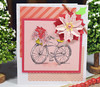 Bicycle with Christmas Flowers on 5 in x 5 in card.