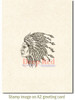 Indian Chief Rubber Cling Stamp by Deep Red Stamps shown on A2 card