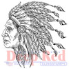 Indian Chief Rubber Cling Stamp by Deep Red Stamps