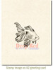 Goldfish Rubber Cling Stamp by Deep Red Stamps shown on A2 card