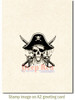 Beware of Pirates Rubber Cling Stamp by Deep Red Stamps shown on A2 card