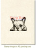 French Bulldog Rubber Cling Stamp by Deep Red Stamps shown on A2 card