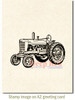 Vintage Farm Tractor Rubber Cling Stamp by Deep Red Stamps shown on A2 card