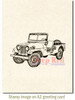 Vintage Military Jeep Rubber Cling Stamp by Deep Red Stamps shown on A2 card