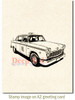 Classic Taxi Rubber Cling Stamp by Deep Red Stamps shown on A2 card