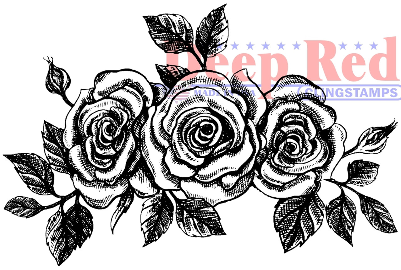 Deep Red Stamps Roses Pen and Ink Rubber Cling Stamp