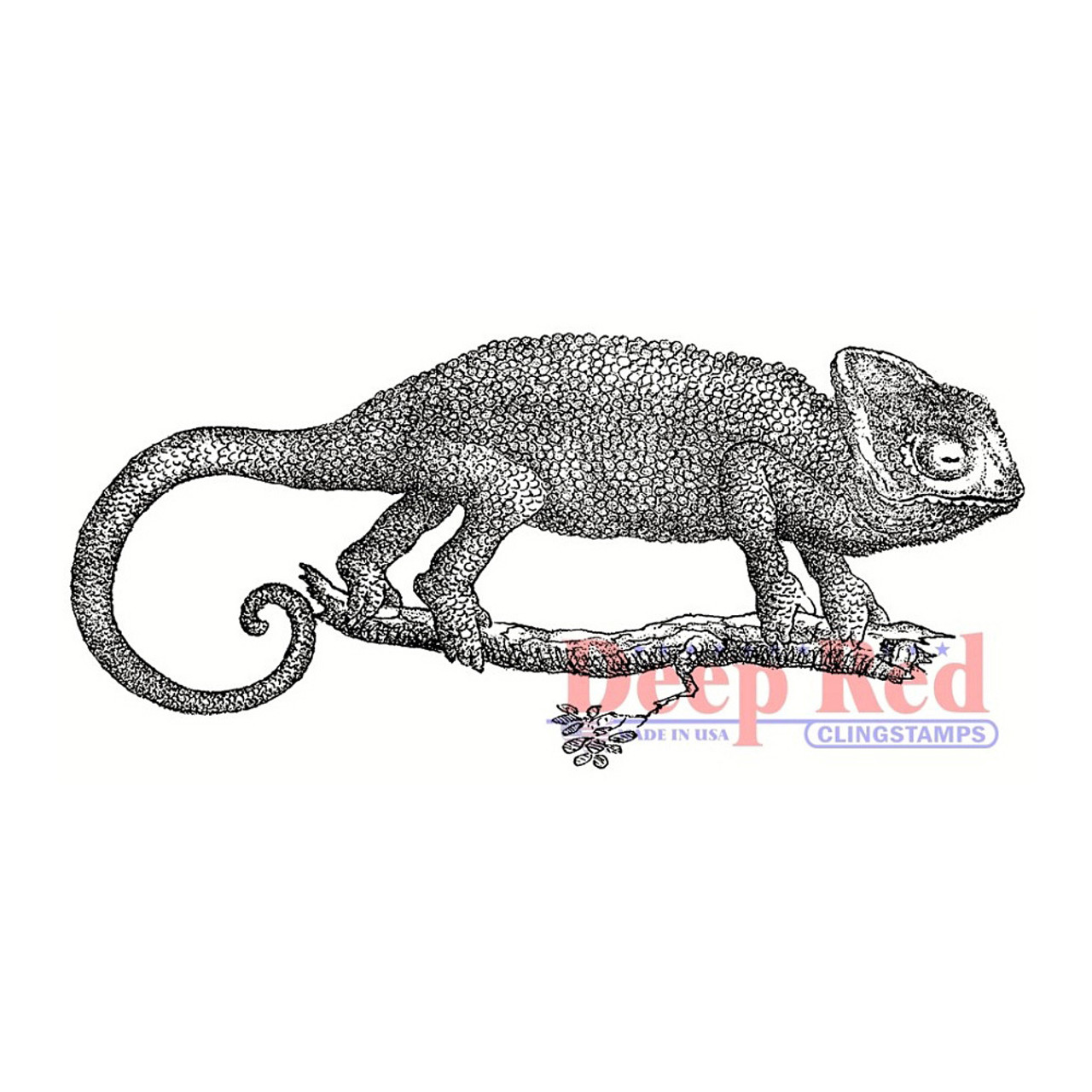Deep Red Rubber Cling Stamp Chameleon Lizzard Rubber Stamp