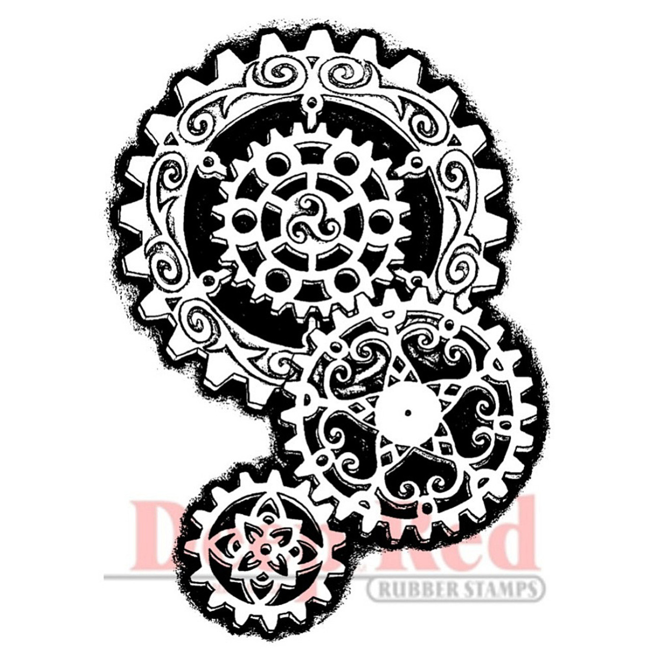 Deep Red Stamps Steampunk Warrior Rubber Cling Stamp