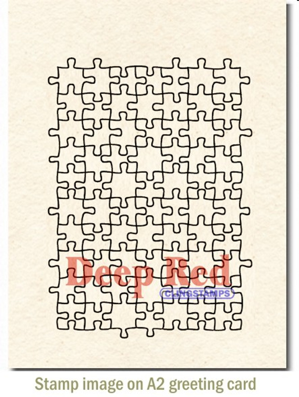Deep Red Stamps Puzzle Background Rubber Cling Stamp
