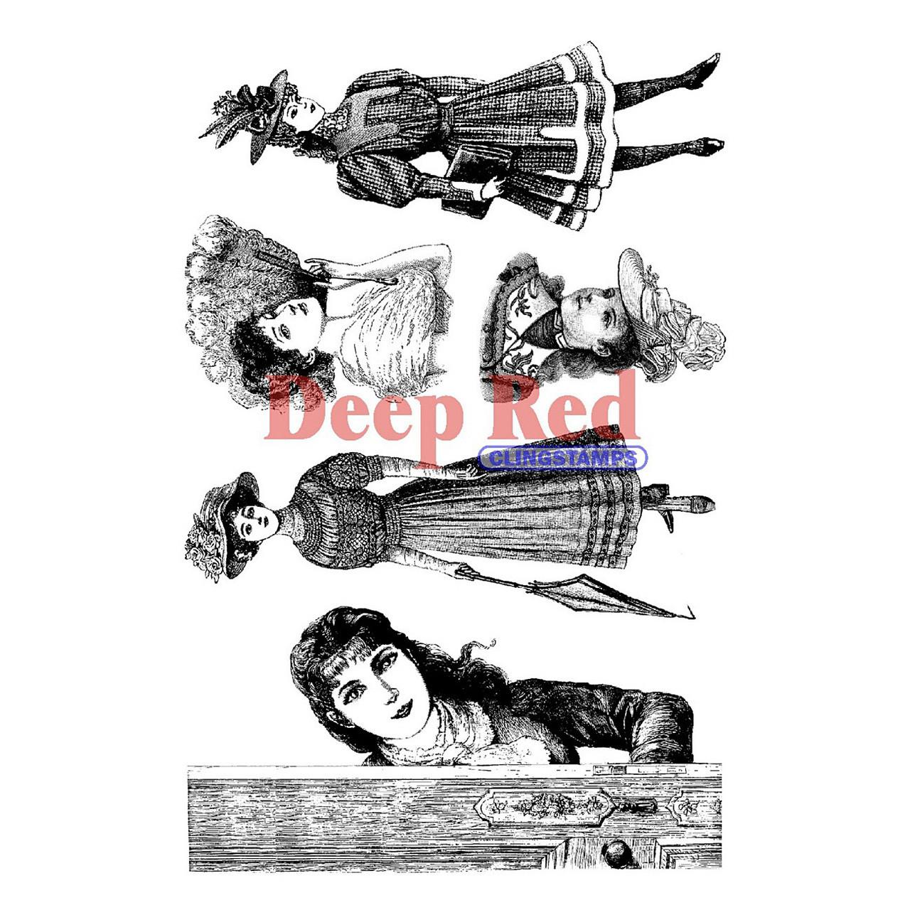 Deep Red Stamps Vintage Skating Girl Rubber Cling Stamp