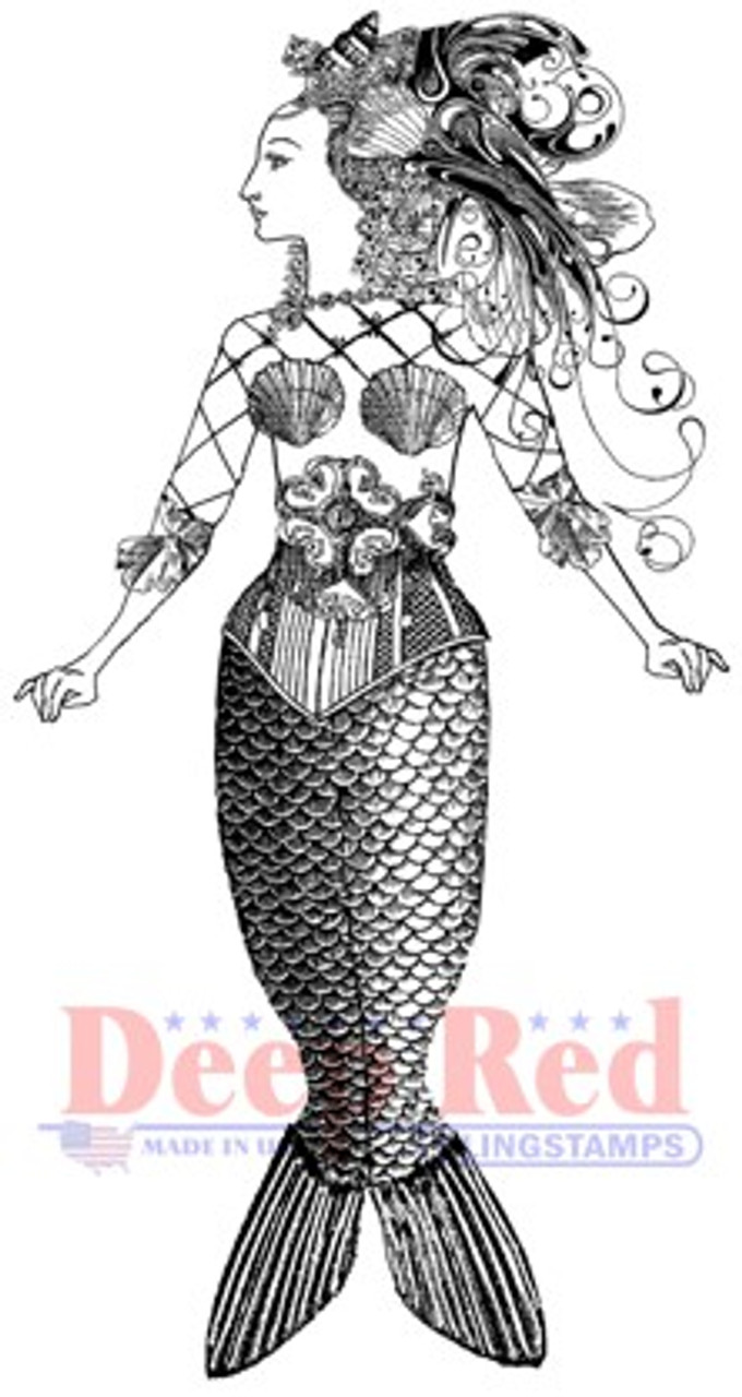 Deep Red Rubber Cling Stamp Cute Little Mermaid with a Fish