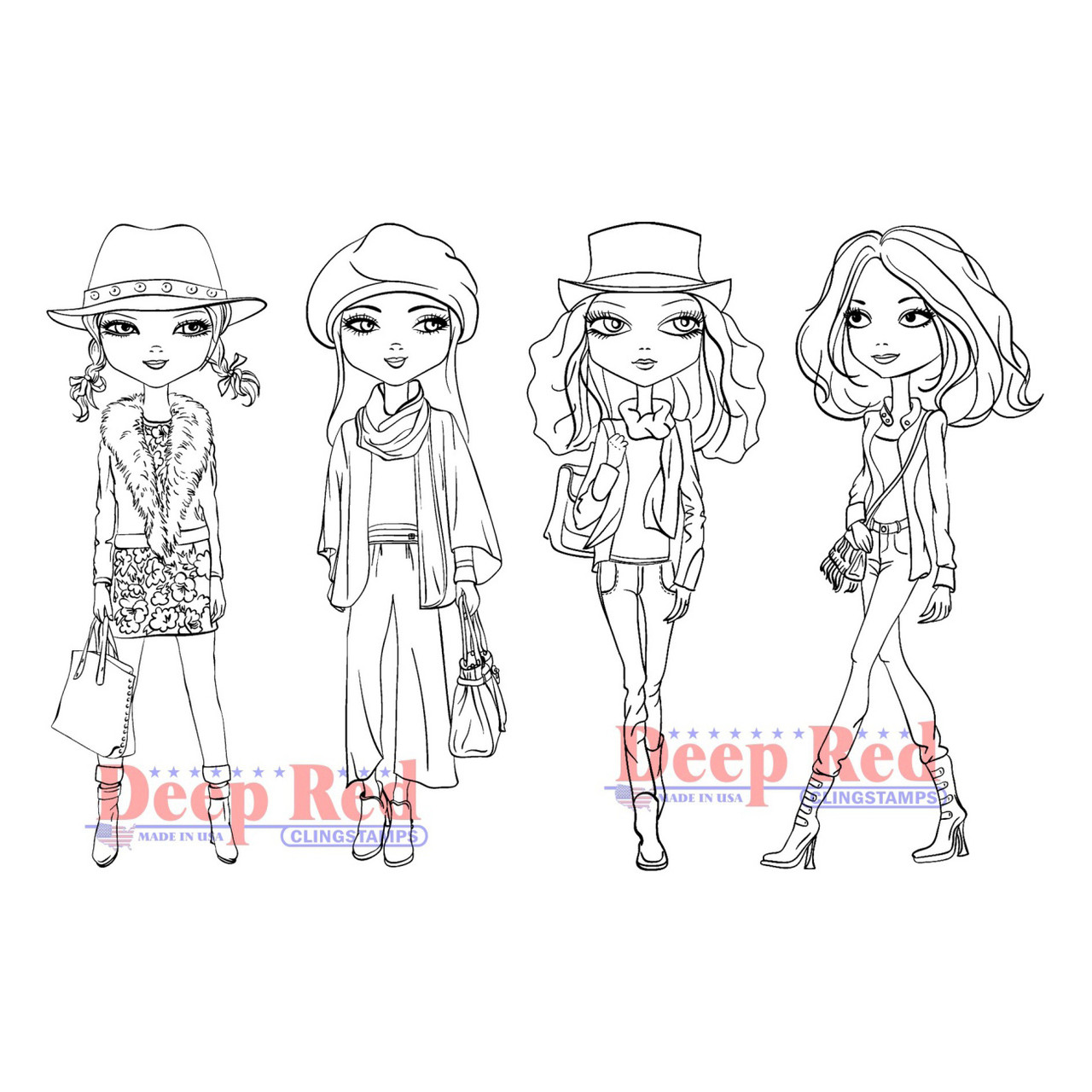 city girls fall fashion rubber cling stamps
