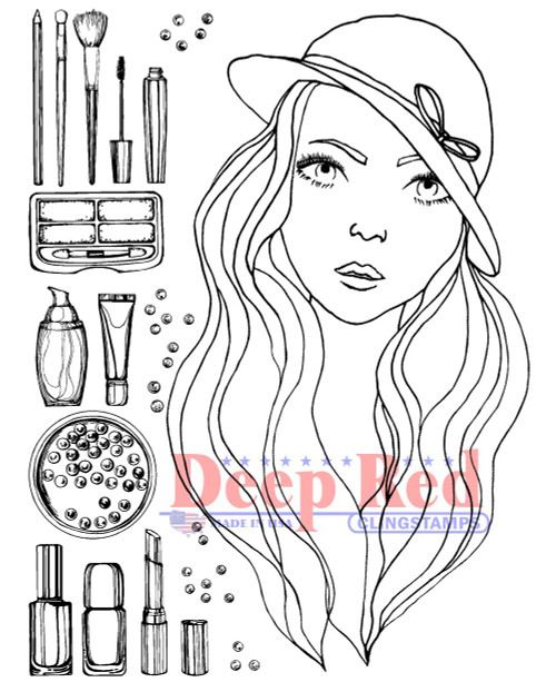 Makeup Palette Rubber Cling Stamp by Deep Red Stamps