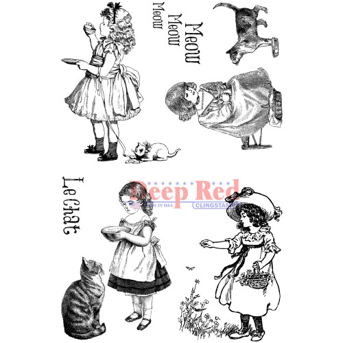 Victorian Girls with Kittens Rubber Cling Stamp by Deep Red Stamps