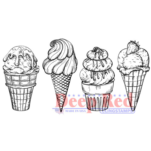 Ice Cream Border Rubber Cling Stamp by Deep Red Stamps