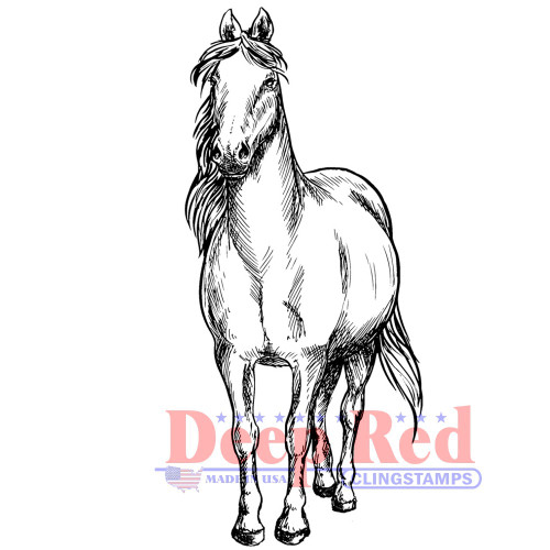 Majestic Horse Rubber Cling Stamp by Deep Red Stamps