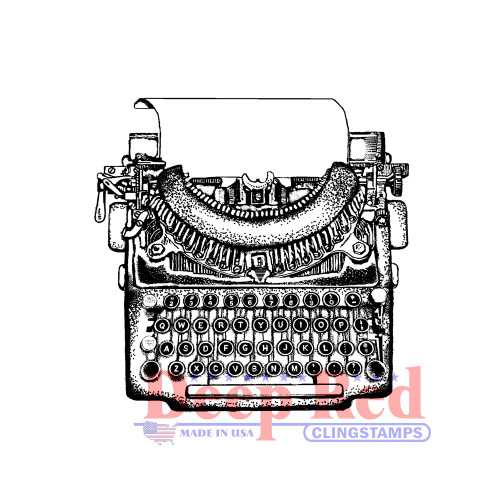 Manual Typewriter Rubber Cling Stamp by Deep Red Stamps