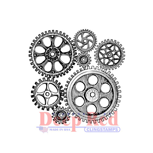 Cogs and Gears Rubber Cling Stamp.