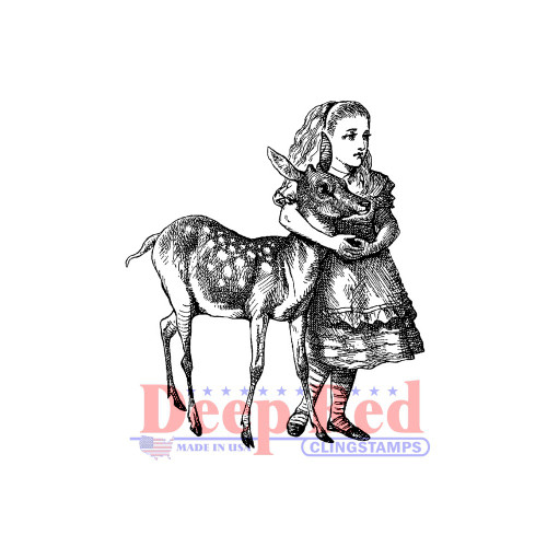 Alice with Deer Rubber Cling Stamp.