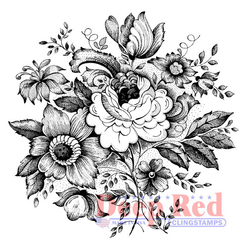 Wildflower Bunch Rubber Cling Stamp by Deep Red Stamps