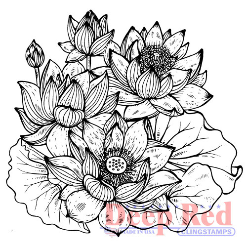 Lotus Rubber Cling Stamp by Deep Red Stamps