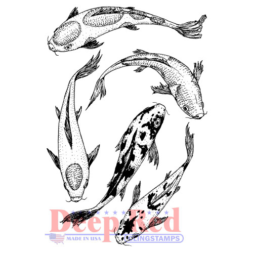 Koi Swimming Rubber Cling Stamp.
