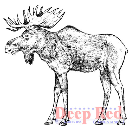 Moose Rubber Cling Stamp by Deep Red Stamps