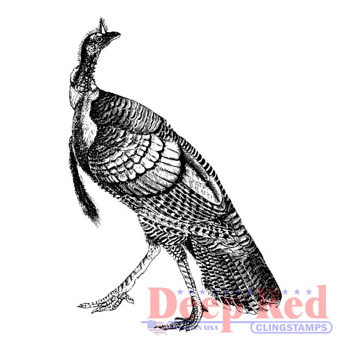 Tom Turkey Rubber Cling Stamp .