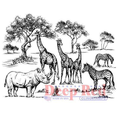 Safari Rubber Cling Stamp by Deep Red Stamps