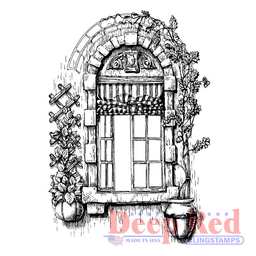 Villa Window Rubber Cling Stamp.