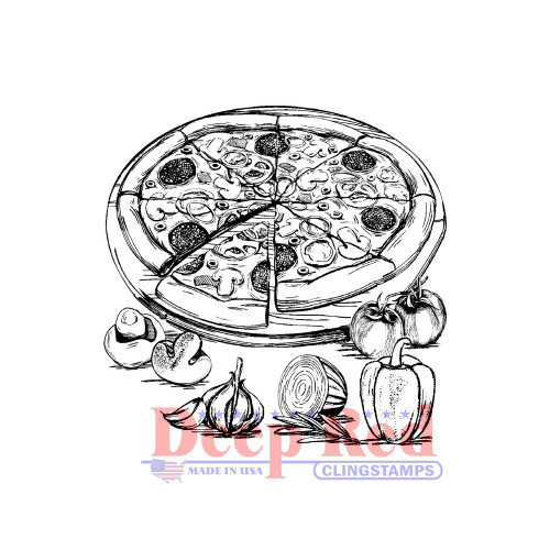 Pizza Day Rubber Cling Stamp by Deep Red Stamps.
