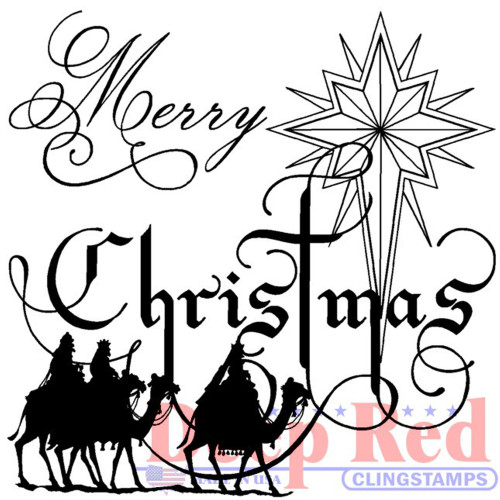 Wise Men Christmas Rubber Cling Stamp by Deep Red Stamps