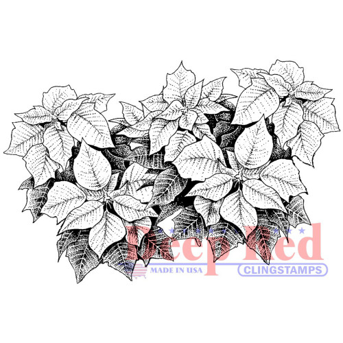 Poinsettia Border Rubber Cling Stamp by Deep Red Stamps