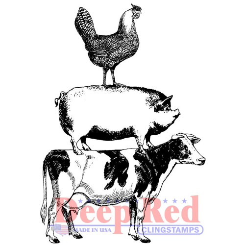 Farm Animal Stack Rubber Cling Stamp by Deep Red Stamps