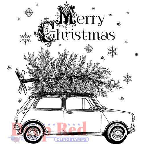Christmas Car Rubber Cling Stamp by Deep Red Stamps