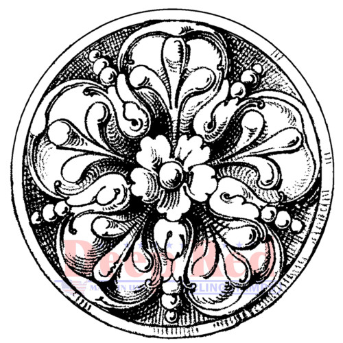 Carved Stone Medallion Rubber Cling Stamp
