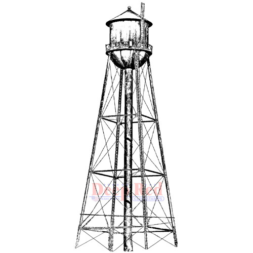 Water Tower Rubber Cling Stamp