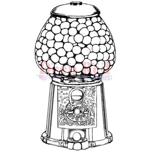 Gumball Machine Rubber Cling Stamp