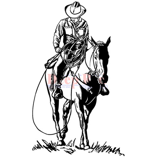 Western Cowboy Rubber Cling Stamp