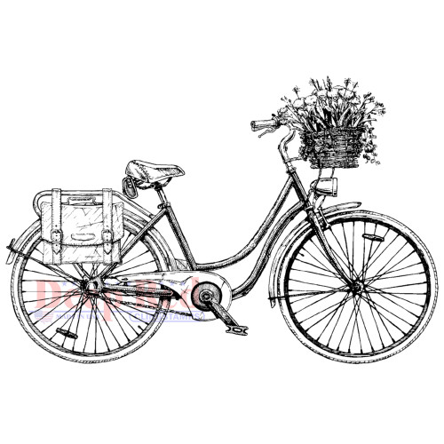 Floral Bicycle Rubber Cling Stamp