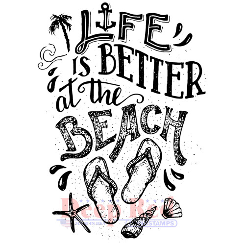 Life at the Beach Rubber Cling Stamp