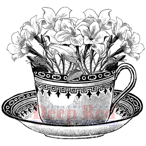 Teacup Flowers Rubber Cling Stamp