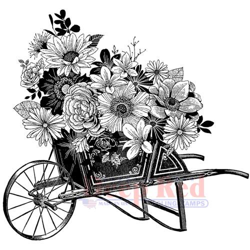 Wheelbarrow Bouquet Rubber Cling Stamp