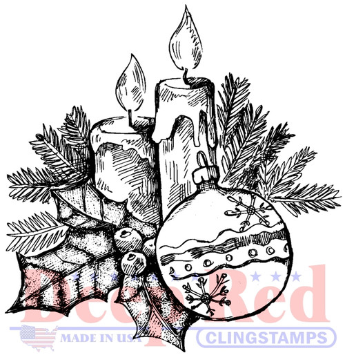 Holly Candles Cling Stamp by Deep Red Stamps