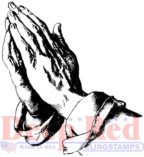 Praying Hands Cling Stamp by Deep Red Stamps