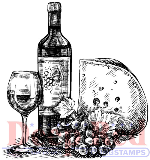 Wine and Cheese Cling Stamp by Deep Red Stamps