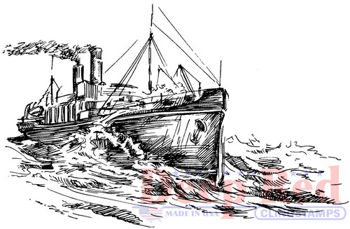 Ocean Steamer Cling Stamp by Deep Red Stamps